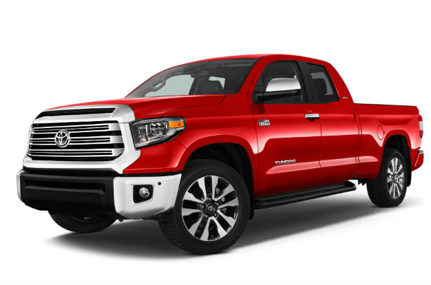 side view of a red 2019 Toyota Tundra