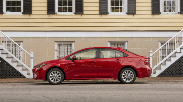 side view of a red 2020 Toyota Corolla