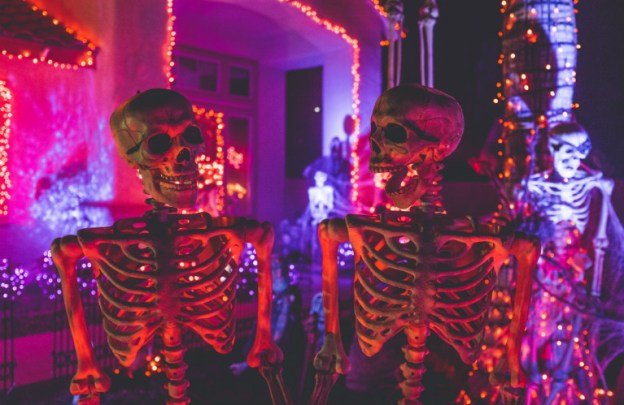 Two skeletons hang out at a party and talk animatedly.