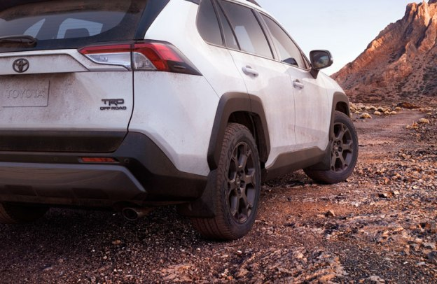White 2020 Toyota RAV4 TRD OffRoad ready to take on the elements out in a desert.