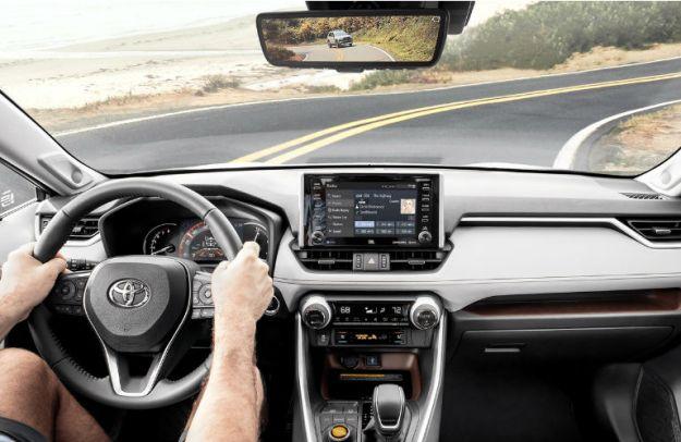 Interior cockpit of a 2020 Toyota RAV4 Hybrid