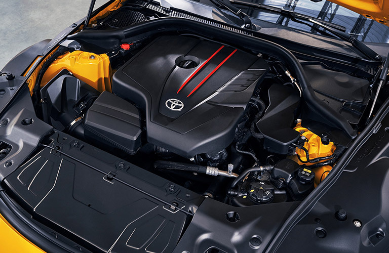 Engine under the hood of a 2021 Toyota Supra
