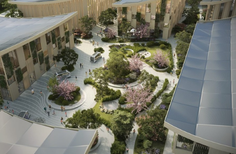 """Courtyard viewed from above in the Toyota """"Woven City"""""""