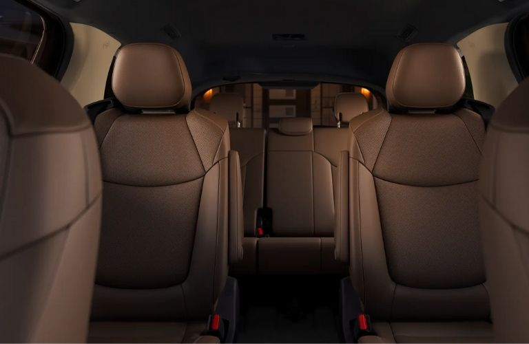 A close view of the first, second, and third row of the 2021 Toyota Sienna