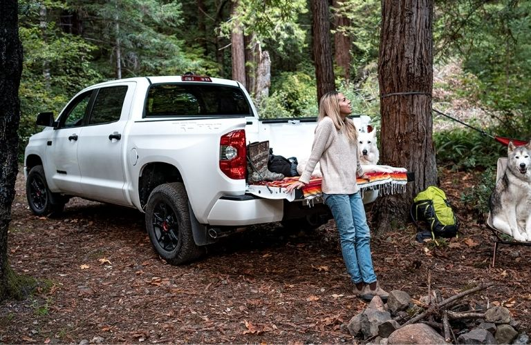 A girl having time alone in the spacious 2021 Toyota Tundra